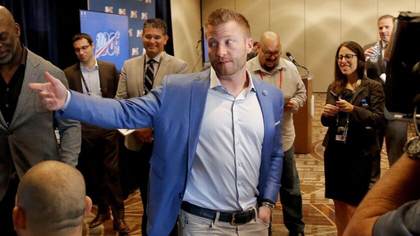 Los Angeles Rams head coach Sean McVay speaks to the media as he and Los Angeles Chargers head coach