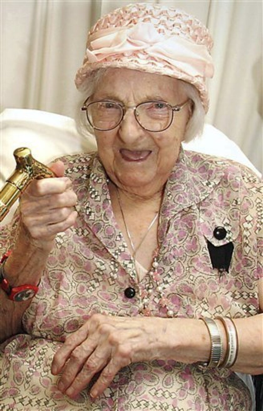 FILE - This May 17, 2006 file photo shows Mary Josephine Ray during her 111th birthday party in Westmoreland, N.H. She died Sunday, March 7, 2010 in Westmorland at age 114. The Gerontology Research Group says that until her death, Ray was the oldest person in the United States and the second oldest person in the world. (AP Photo/Keene Sentinel, Steve Hooper, File)