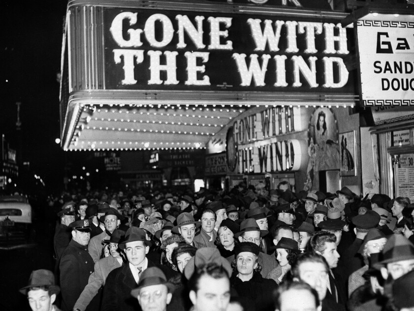"A crowd at the Astor Theater during the Broadway premiere of ""Gone With the Wind"" in New York on Dec. 19, 1939."