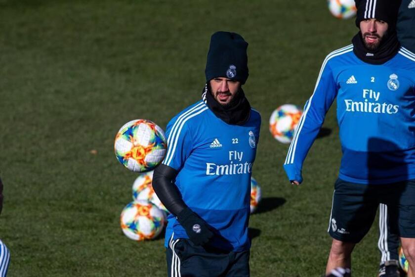 """El delantero del Real Madrid Francisco Alarcón """"Isco"""", durante un entrenamiento. EFE/Archivo"""