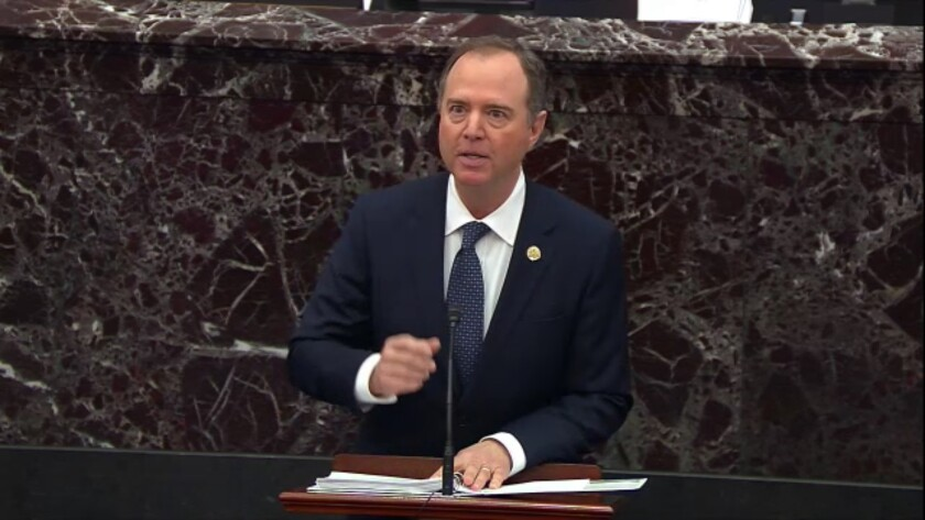 In this image from video, House impeachment manager Rep. Adam Schiff speaks during the trial against President Trump in the Senate.