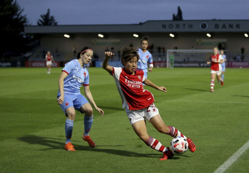 Arsenal's Mana Iwabuchi controls the ball, during the Women's Champions League second round, first leg soccer match between Arsenal and Slavia Praha, at Meadow Park, in London, Tuesday, Aug. 31, 2021. (Steven Paston/PA via AP)
