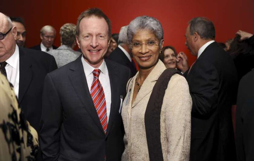 Charmaine Jefferson has resigned after 11 years as director of the California African American Museum. She's pictured with fellow CalArts board member Austin Beutner at a 2011 gala for CalArts' REDCAT theater.