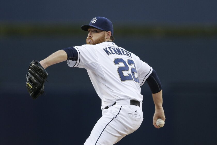 FILE - In this Sept. 24, 2015, file photo, San Diego Padres starting pitcher Ian Kennedy works against a San Francisco Giants batter during the first inning of a baseball game, in San Diego. Besides signing Kennedy and reliever Joakim Soria, the only other major move the Kansas City Royals made was