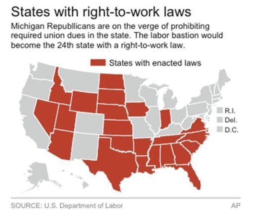 States that have right-to-work laws - The San go Union ... on union confederate map state names, union membership by state, united states map, right to work state and map,