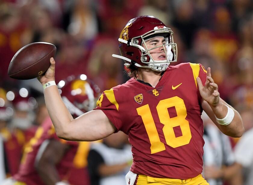 USC quarterback JT Daniels passes against Fresno State.