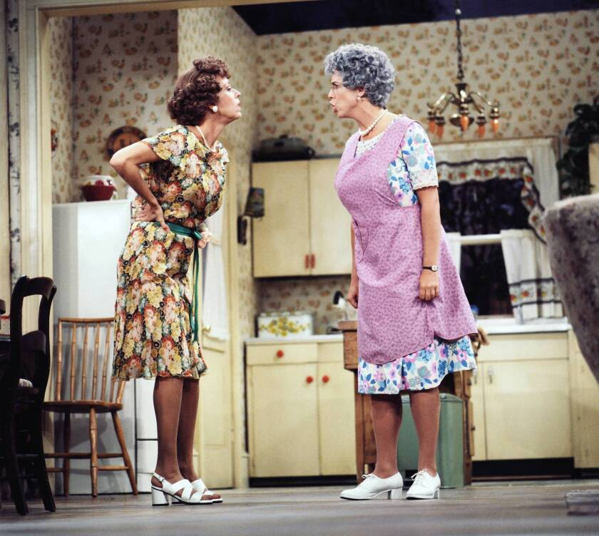 """Carol Burnett's Eunice, left, has words with her cranky mother (Vicki Lawrence) on the '80s sitcom """"Mama's Family,"""" whose six seasons are now available on DVD in a new collection."""