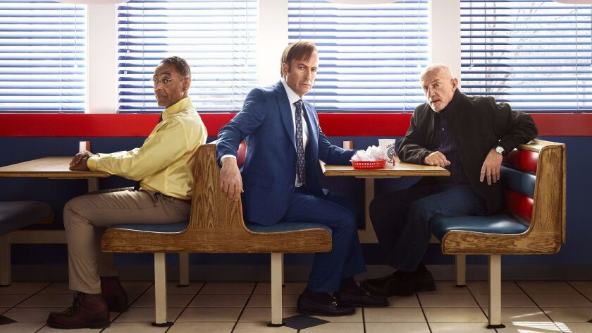 """Giancarlo Esposito, left, joins Bob Odenkirk and Jonathan Banks on """"Better Call Saul,"""" the prequel to """"Breaking Bad."""""""
