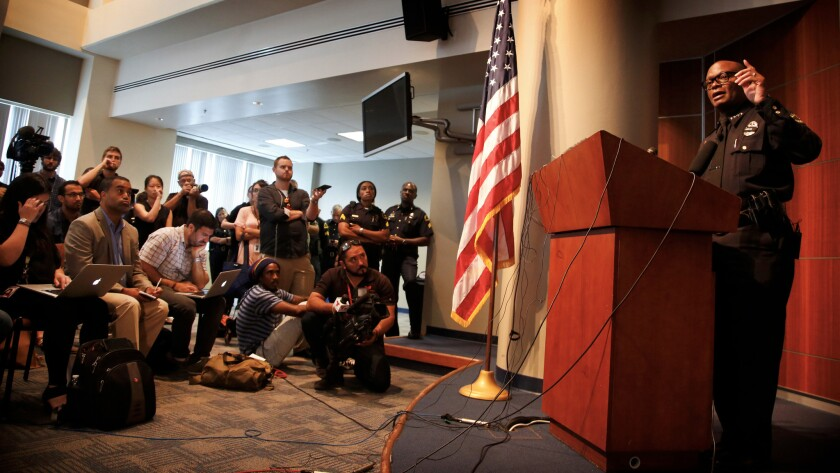 Dallas Police Chief David Brown at a news conference.
