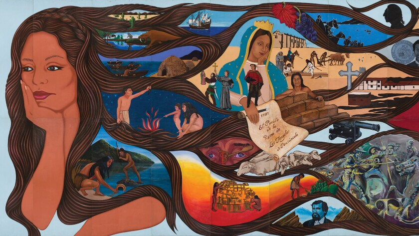 """A segment of Barbara Carrasco's mural """"L.A. History: A Mexican Perspective."""" It was commissioned by"""