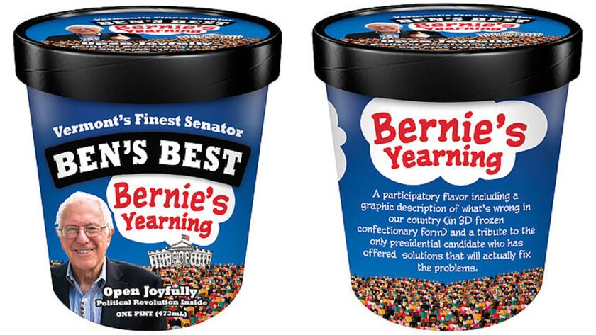 Bernie's Yearning, mint ice cream covered with a thick slab of solid chocolate, is the new flavor Ben & Jerry's founder Ben Cohen has made, in support of Bernie Sanders.