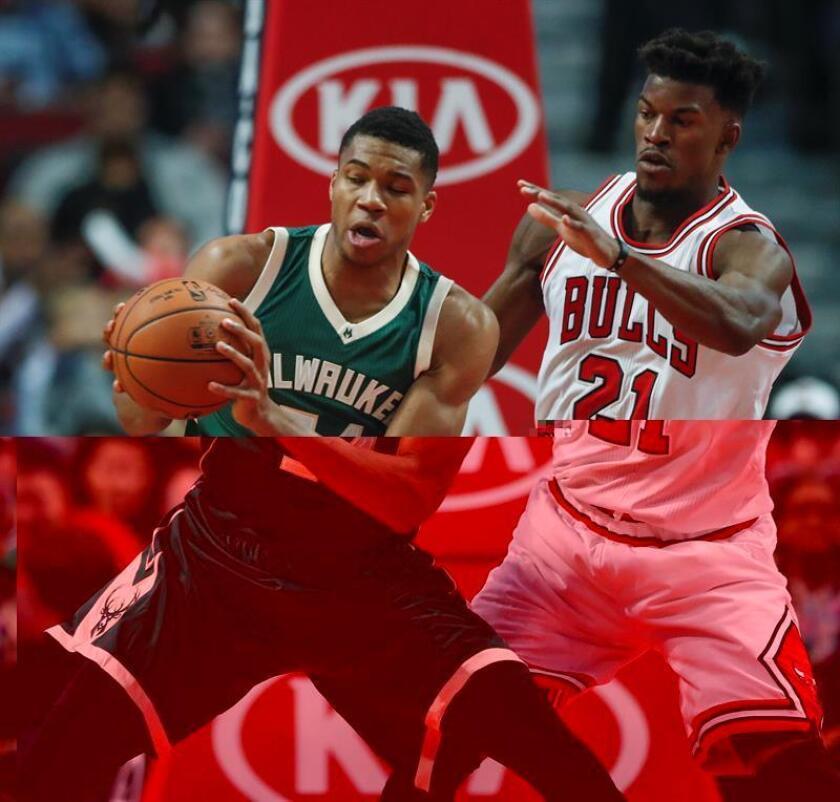 Jimmy Butler (d) de los Chicago Bulls disputa el balón con Giannis Antetokounmpo (i) de los Milwaukee Bucks. EFE/Archivo