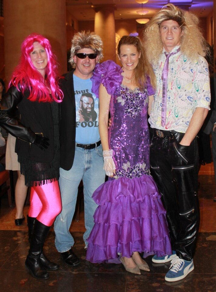 "Stella Maris Academy parents Mimi and Brent Smith with Kelly and Tom Griffiths attend the school's ""1980s prom""-themed fundraising gala; Feb. 21, 2015; Hyatt Regency La Jolla at Aventine."