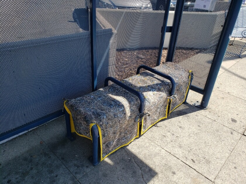 A bus bench slipcover by artist Kim Abeles disappeared within a day of being installed.