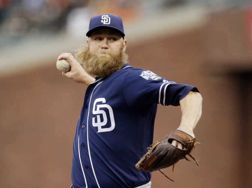 San Diego Padres starting pitcher Andrew Cashner throws to the San Francisco Giants during the first inning of a baseball game Tuesday, May 24, 2016, in San Francisco. (AP Photo/Marcio Jose Sanchez)