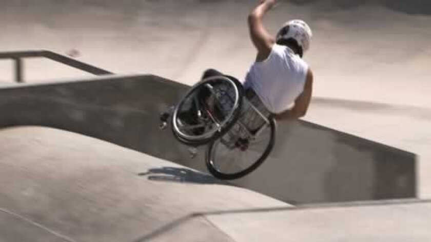 Aaron Fotheringham, 19, does a wheelchair double flip in 'Seeds of Resiliency,' airing on KPBS-TV April 14. Courtesy