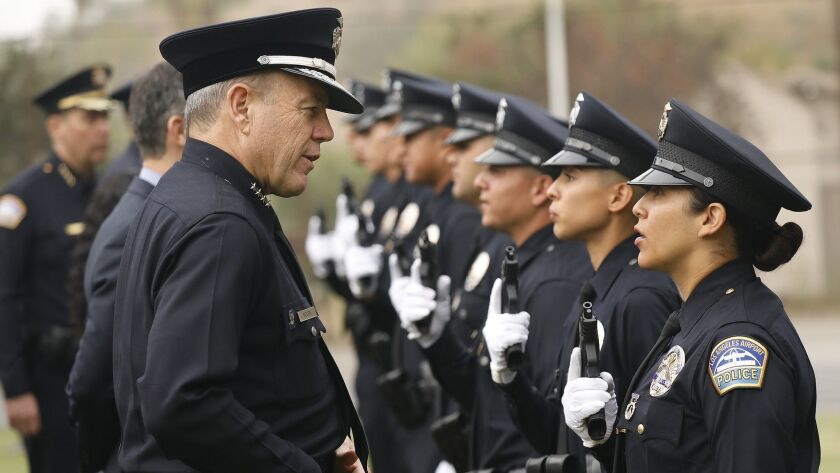 Police Chief Michel Moore talks to recruits during uniform inspection at the Los Angeles Police Department graduation exercises in April 2018.