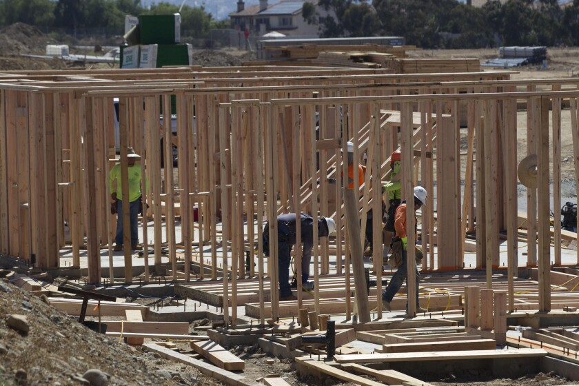 A Pardee Homes project under construction on Otay Mesa in this  September 20, 2019, file photo.