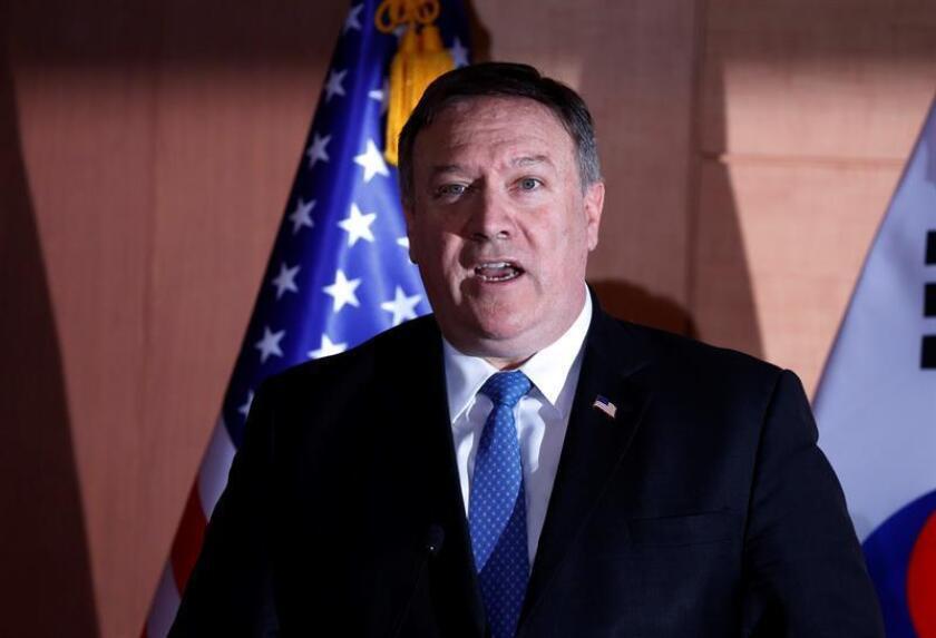 El secretario de Estado estadounidense, Mike Pompeo, habla durante una conferencia de prensa. EFE/Archivo