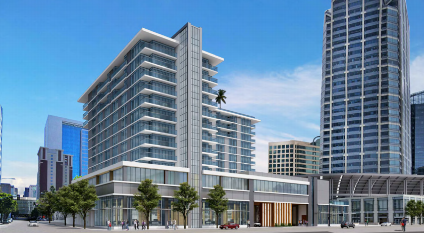 Two America Plaza is a proposed mixed-use development across from the Santa Fe Depot. The 13-story project would include 301 hotel rooms, 48 condos, 23,300-square feet of commercial space and 179 parking spaces.