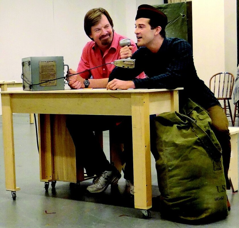 A radio announcer (Scott Wakefield) looks on as returning WWII soldier A.J. Shively (Billy Cane) speaks to his mother in 'Bright Star.'