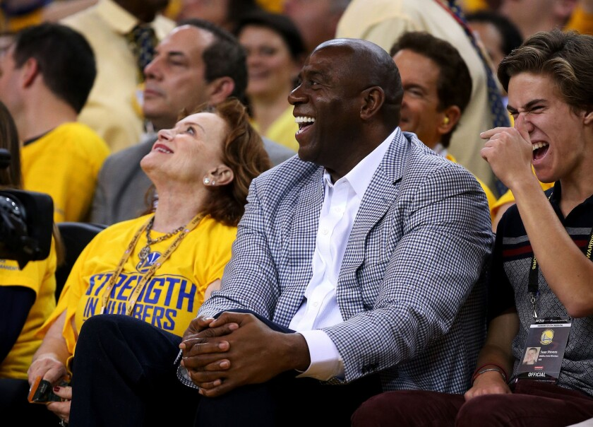 Magic Johnson took time on Wednesday to meet with Lakers players before their practice.