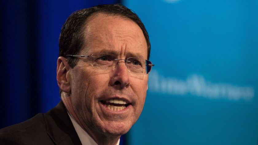 Randall Stephenson, chief executive of AT&T, says that part of the rationale for the merger with Time Warner is to better compete against tech companies.