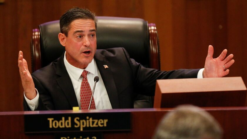 Orange County Supervisor Todd Spitzer announced on Monday that he will challenge Dist. Atty. Tony Rackauckas in 2018 for the role of top prosecutor. Spitzer is the subject of a probe by Rackauckas' office.