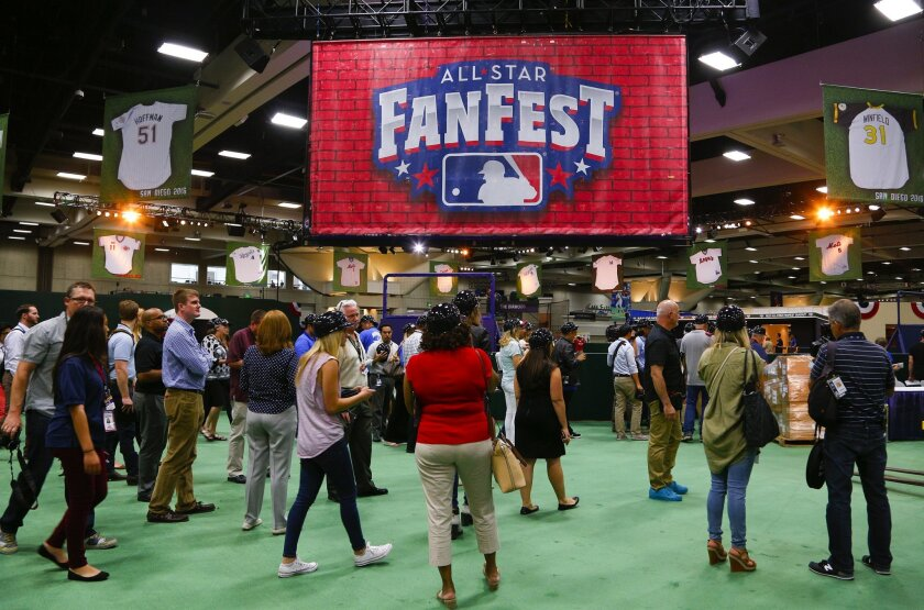 SAN DIEGO CALIFORNIA, USA -- JULY 7, 2016: ..Members of the news media were given a tour of the exhibits at the MLB All Star FanFest held at the San Diego Convention Center.  FanFest opens to the public Friday 9am until 8pm and runs until the 12th of July (closes at 6pm)....Mandatory Credit: PHOTO