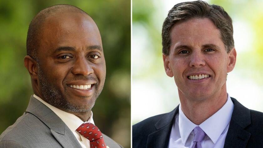 Tony Thurmond, a la izquierda, y Marshall Tuck se encuentran entre los candidatos para convertirse en el superintendente de instrucción pública de California.