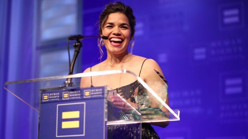 America Ferrera accepts the HRC Ally for Equality Award at the Human Rights Campaign's L.A. gala on March 18.