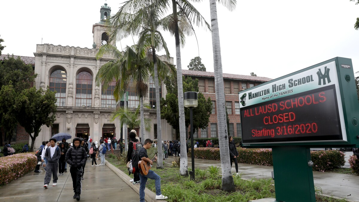 LOS ANGELES, CALIF. -- FRIDAY, MARCH 13, 2020: Hamilton High School in Los Angeles, Calif., on March 13, 2020. The school has 2,623 students who live in 94 different zip codes, some of whom travel upwards of 30 miles to school on 24 different school bus routes. 221 school staff live in 88 zip codes. Los Angeles Unified School District Superintendent Austin Beutner announced that schools will be closed due to the coronavirus. (Gary Coronado / Los Angeles Times)