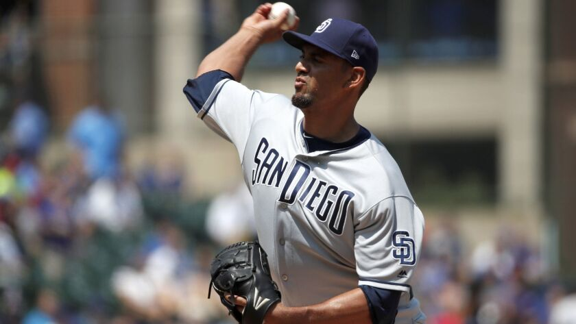 Tyson Ross pitches during the first inning of Friday's game against the Chicago Cubs, in what turned out to be his final game for the Padres. He was claimed on waivers by St. Louis.