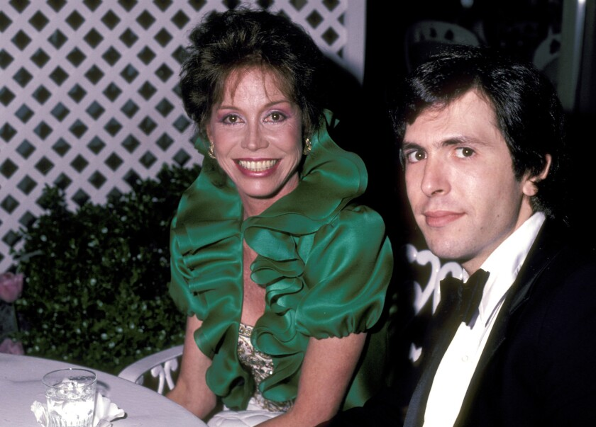 "Mary Tyler Moore and husband, Robert Levine, during the ""Private Lives"" New York Opening Night — After Party at Tavern on the Green in New York City. When the couple married in 1983, Moore was 47 and Levine was 29."