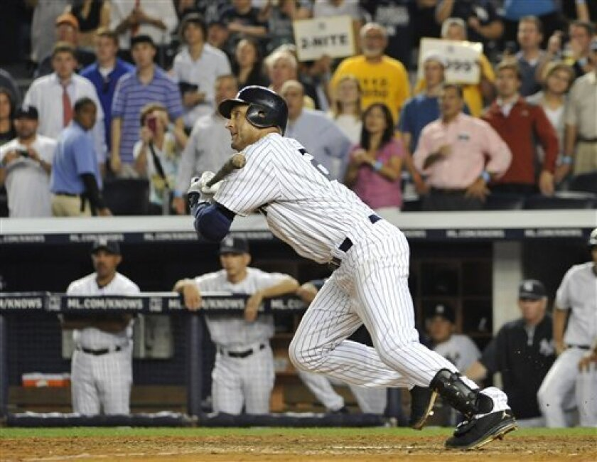 New York Yankees' Derek Jeter grounds out to end the baseball game against the Tampa Bay Rays on Thursday, July 7, 2011, at Yankee Stadium in New York. Tampa Bay won 5-1. (AP Photo/Kathy Kmonicek)