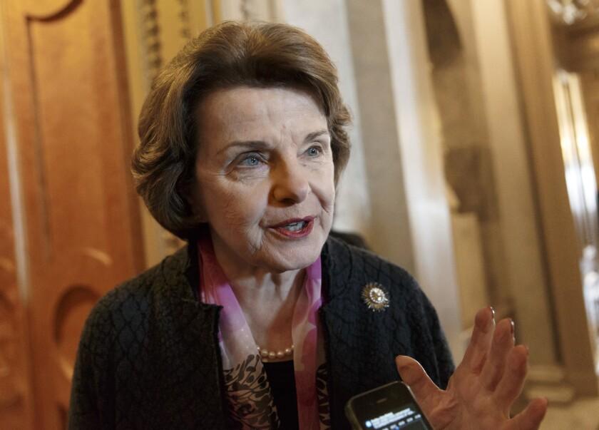 Senate Intelligence Committee Chair Sen. Dianne Feinstein (D-Calif.) speaking on Capitol Hill in Washington.
