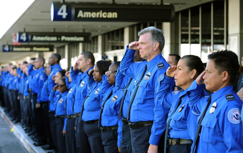 A long line of Transportation Security Administration personnel salute the U.S. Honor Flag procession as it leaves Los Angeles International Airport in memory of TSA agent Gerardo Hernandez, killed by a rampaging gunman last week.