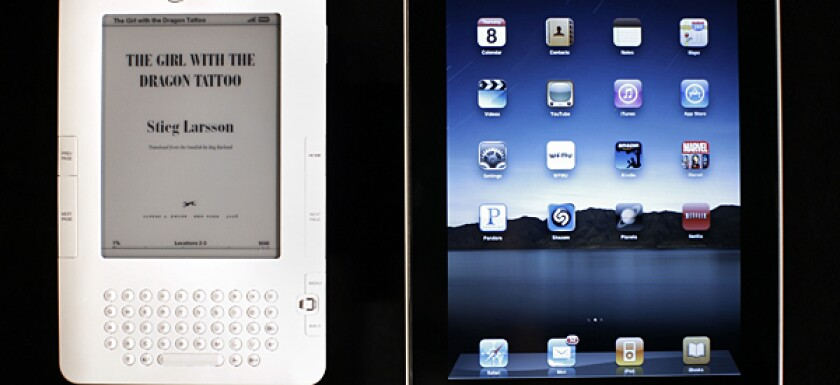 The iPad, right, measures data in pages and enables readers to turn pages. Readers can take notes on the Kindle.