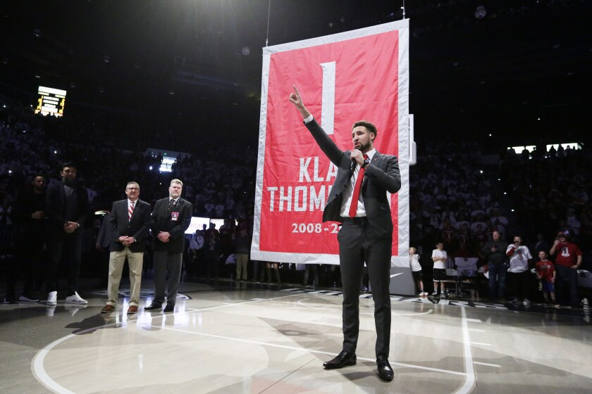 Golden State star Klay Thompson speaks during his jersey retirement ceremony at halftime of Washington State's win Jan. 18, 2020.