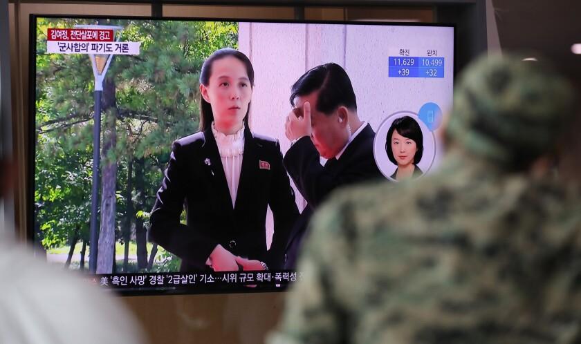 A man in Seoul watches a TV screen June 4 showing Kim Yo Jong, sister of North Korea's leader, Kim Jong Un.
