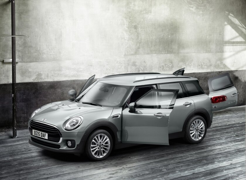 This undated photo provided by Mini USA shows the 2016 Mini Cooper Clubman. The wagon is stylishly redesigned as the biggest Mini ever and has new features, including optional upholstery that looks like it came from a proper English Chesterfield sofa. (Mini USA via AP) MANDATORY CREDIT