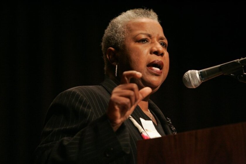 Ashley Walker, former executive director of San Diego's Human Relations Commission, gave the keynote address at Golden Hall. Walker urged the more than 1,000 in attendance to embrace King's agenda seeking social justice for all.