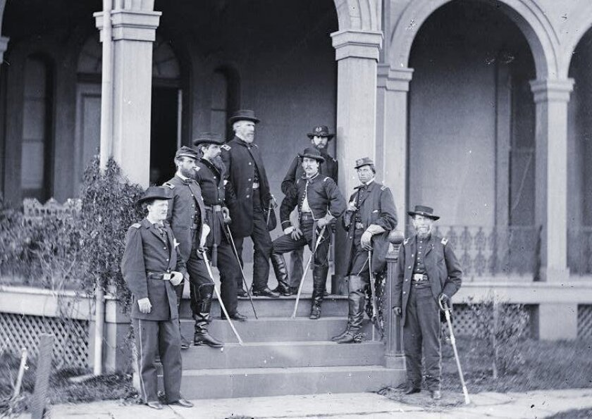 Alonzo Cushing (second from right) while serving on the staff of Maj. Gen. Edwin V. Sumner in 1862.