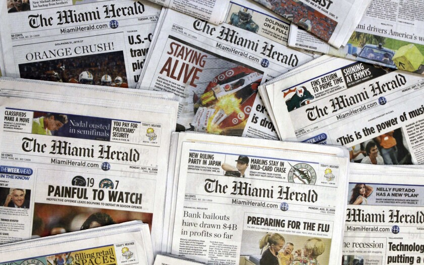 Copies of the Miami Herald, owned by the McClatchy Co., are shown in October 2009.