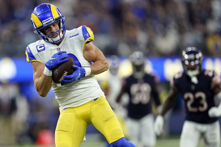 Rams wide receiver Cooper Kupp hauls in a pass on his way to scoring a 56-yard touchdown against the Chicago Bears.