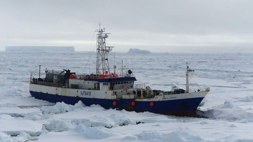 The Austrailian fishing vessel Antarctic Chieftain is seen from the Coast Guard cutter Polar Star.