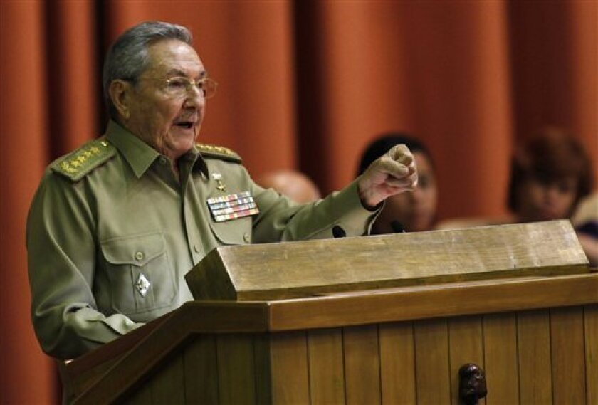 Cuba's President Raul Castro delivers his speech at the closing of the second day of a twice-annual legislative sessions, at the National Assembly in Havana, Cuba, Sunday, July 7, 2013. Observers will be watching to see if the new vice president is taking on increasing responsibility since assuming the post in what was seen as the beginning of a generational leadership transition. (AP Photo/Ismael Francisco, Cubadebate)