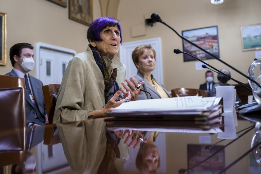 House Appropriations Committee Chair Rosa DeLauro, D-Conn., left, joined by Rep. Kay Granger, R-Texas.
