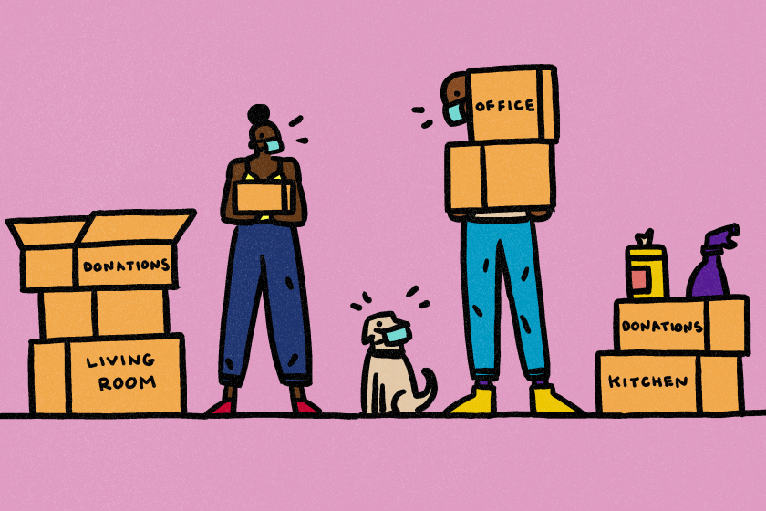 Illustration of a health-conscious couple and their dog wearing masks, surrounded by moving boxes.