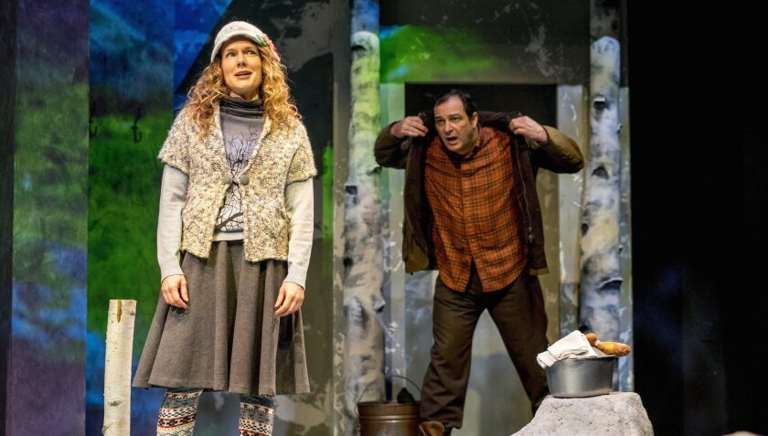 """Carla Harting and Manny Fernandes in """"Outside Mullingar"""" at San Diego Rep."""
